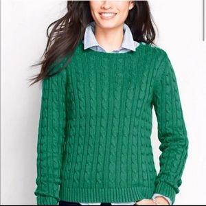 Lands End Drifter Cable Knit Sweater Green